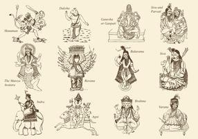 Hinduísmo Deus e Deusa vetor