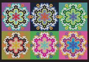 Padrões de flores Huichol vetor