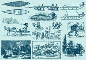 Ilustrações de inverno vintage azul