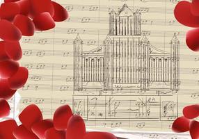 Fundo musical da igreja do órgão de tubulação vetor