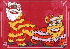 Ilustração do fundo da dança do leão