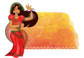 Fundo da dança da mulher indiana vetor