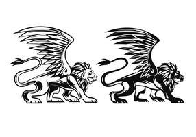Vetores de leões voados prowling