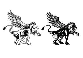 Vetores de leão com asas pretas
