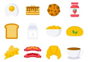 Vetor de ícones do café da manhã grátis