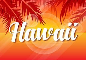 Ilustração livre do vetor do por do sol de Havaí