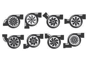 Ícones de turbocompressor vetor