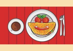Breakfast Ilustração da Omelete vetor