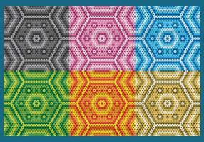 Padrões Hexagonal Huichol Coloridos vetor