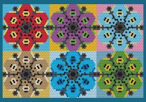 Padrões de flores quentes de Huichol vetor