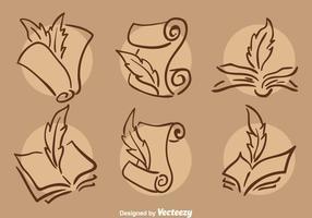 Ilustração clássica de ícones de poemas de escrita vetor
