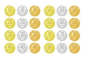 Aniversário em ouro prata e bronze vetor
