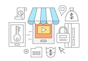Ícones de vetor de loja on-line