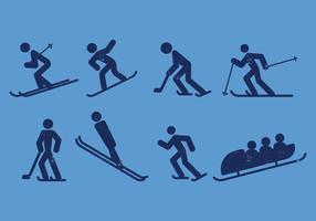 Ícones de pictograma de esqui, skate, hóquei, snowboard e trenó vetor