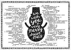 Vector de cartão de Natal desenhado mão vintage