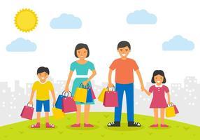 Ilustração feliz do vetor de compras da família feliz