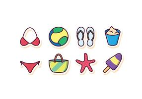 Conjunto grátis de ícones de praia vetor
