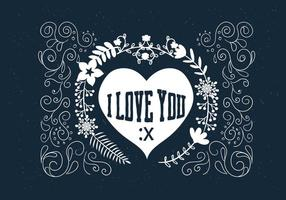 Desenho desenhado Scrollwork Love Vector