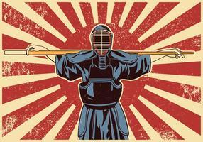 Lutadores de artes marciais da espada de kendo vetor