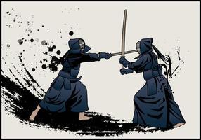 Luta pela espada de Kendo vetor