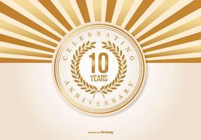 Ilustração bonita do aniversário de 10 anos vetor