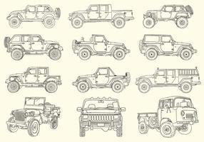 Coleção Jeep desenhada a mão vetor