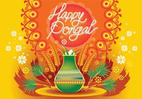 Ilustração vetorial de Happy Pongal Celebration Background