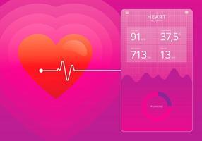 Monitor cardiaco do coração vetor