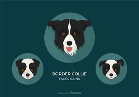 Border Collie livre enfrenta ícones vetoriais vetor