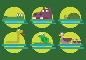 Vetor de ícones de animais do pântano grátis