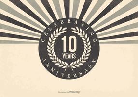 Ilustração retro do 10º aniversário vetor