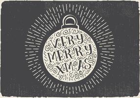 Bola de Natal desenhada mão vintage vintage com rotulação vetor
