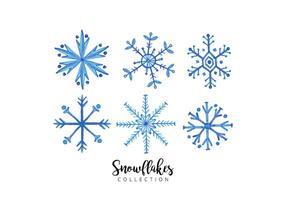 Coleção de flocos de neve de aquarela vetor