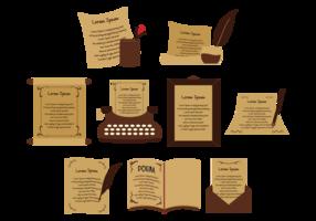 Ícones de vetor de poemas
