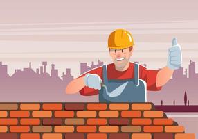 Masonry constrói parede de tijolos vetor