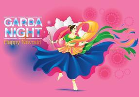 Desenho vetorial de mulher jogando dança Garba vetor