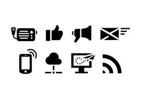 Ícones de comunicação antigos e modernos vetor