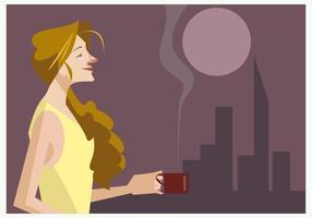 Menina com uma xícara de um vetor de café quente