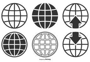 Coleção de ícones do globo mundial vetor