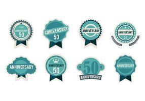 Vector de emblemas de aniversário grátis