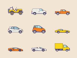 Ícones de veículos gratuitos vetor