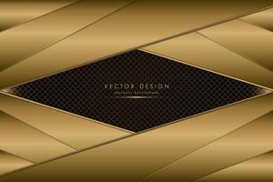camadas angulares de ouro metálico sobre textura de fibra de carbono vetor