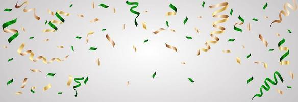 fitas de confete verdes e douradas em gradiente cinza vetor