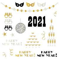 Elementos de celebração de ano novo de 2021