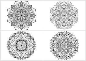 conjunto de mandalas de flores redondas isoladas em branco vetor