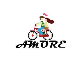 jovem casal adorável andando de bicicleta com o texto amore vetor