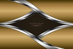 design luxuoso da forma do diamante com borda de ouro e prata vetor