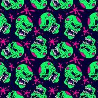crânio de zumbi neon e padrão de respingos de sangue vetor