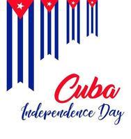 dia da independência de cuba banner com bandeira vetor
