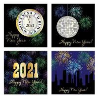 Conjunto gráfico de feliz ano novo de 2021